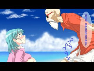 Bulma con el maestro roshi