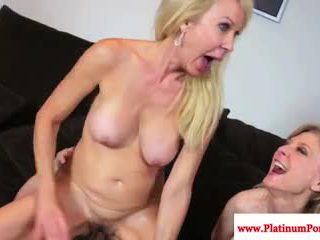 Erica Lauren and Nina Hartley share a cock