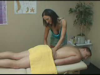 brunette, massage, handjob