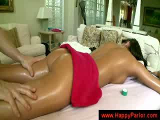 tits, brunette, masseuse