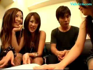 3 Girls Jerking Sucking Guy shaft Kissing On The Bed