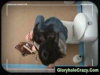 Gloryhole toilet blowjob