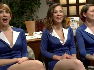 Sexy females im uniform has bonded und toyed riesig