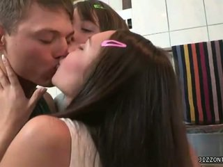 brunette, young, 3some