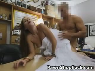 Blonde In Her Wedding Dress Doggystyled On Pawn Shop Desk