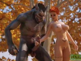Sedikit merah menunggangi hood attacked & kacau oleh 3d besar sekali werewolf di mystique forest. 3dx fairy ekor parodi