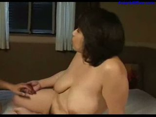 Busty fat milf licked fingered sucking young guy cock on the
