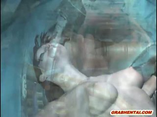 3D animated chained and fucked by wate...
