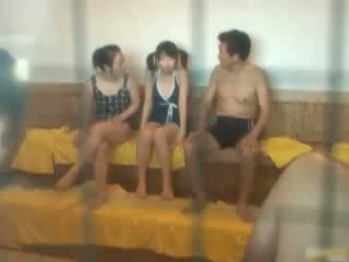 Oriental chick is hot and bathing in the spa
