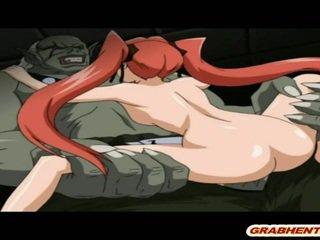 Søt hentai coed hardt knullet svart monster
