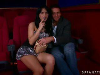 Amabella futand two guys în the cinema