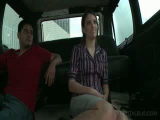 Amateur horny couple riding sex bus