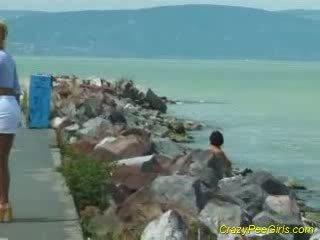 chick urinates on beach
