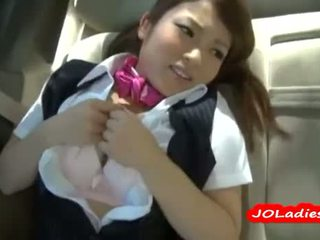 Office Lady In Pantyhose Fingered And Licked In The Car