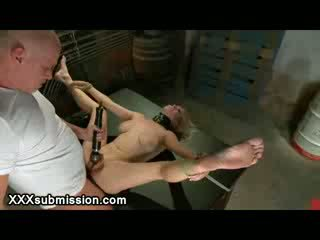 Spread tied up Blond anal fucked and whipped