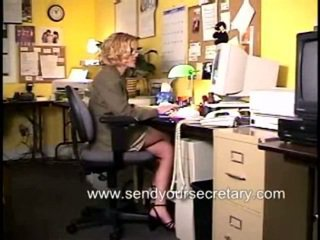 Youngster Secretary Masturbating In A Office