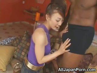 Petite Asian Sucks 10 Inch Black Cock!