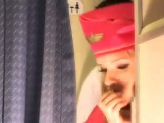 Sexy stewardess gets fresh sperm aboard