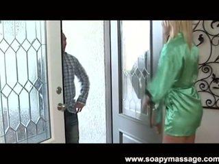 Tall blonde Alyssa Branch blowjob massage