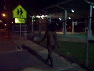 Thick Black Girl Take Naked Stroll At Night