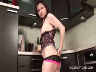 Awesome House Wife Masturbating On The Kitchen Floor