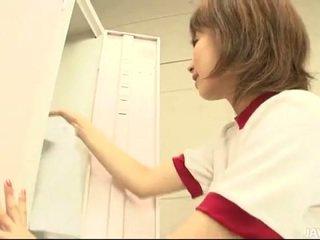 Hairy puss jap's locker room masturbation