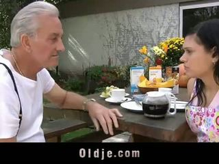 Oldje: eyang kakung david pounds a hot rumaja in his yard