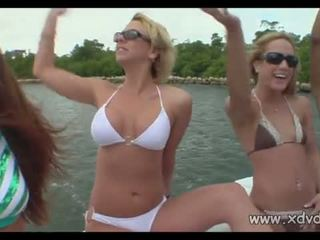 College Girls Party On Boat During Spring Break Having Fun Stripping For Their Boyfriends Camera