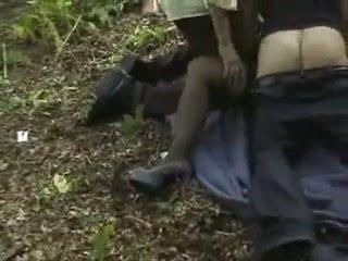 Brunette woman gets gangbanged on woods