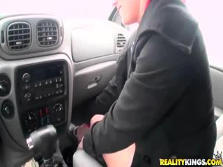 Blonde Bitch Blows Cock In The Car