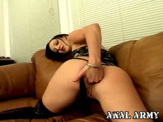 Hot dark haired military prostitute in gstring Deja Dare fingering her sexy asshole