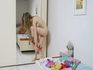 Striptease and fingering for a mirror