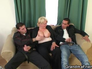 3some Porn Party Around Penetrated Grandma