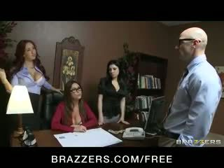 Three big-tit office sluts share their co-worker's dick in orgy