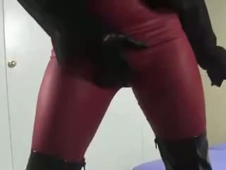 Boots gloves and spandex thrusting