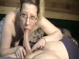 Hot mature woman giving a blowjob