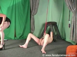 Domina Puts Clamps Onto Slave's Bollocks And Teats And Uses A Crop Onto His Coconuts