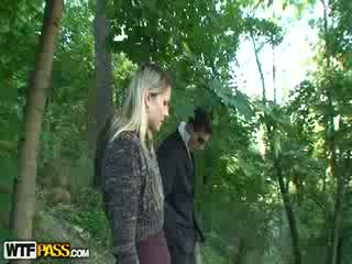 Outside sex scene with a Blond
