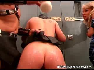 Blond slut in latex gets her boobs