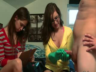 College chicks collecting jizz