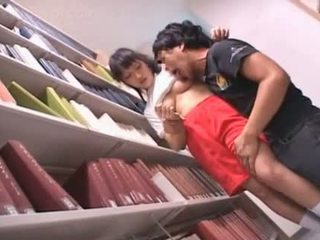 Shaved pussy asian schoolgirl teased in the library