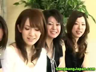 jap oriental Handjob orgy