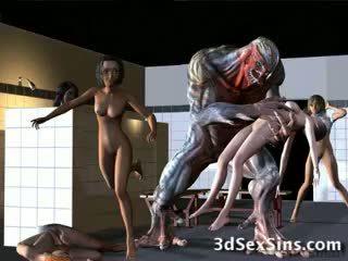 Aliens bang תלת ממדים בנות!