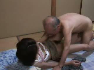 japonais, fille, grand-père, l'adolescence