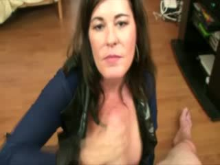 MIlf doll tugging shaft and wants cum over her Melons