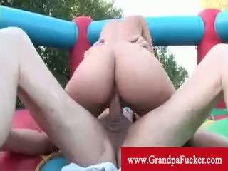 Mia Lina Riding A Grandpas Dick