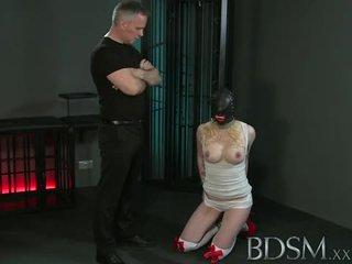 BDSM: Master white pumps blonde slaves tight pussy hard.