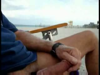 American Tourist Jerking On The Beach While Woman Passing By Video