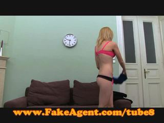 Fakeagent blond takes anaal creampie