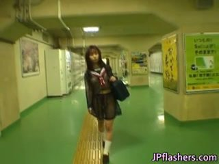 Asian Schoolgirl in Public